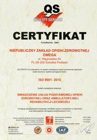 """Certyfikat jakości ISO 9001:2015 """"Świadczenie usług Podstawowej Opieki Zdrowotnej oraz ambulatoryjnej rehabilitacji leczniczej."""""""