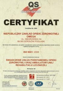 Certyfikat jakości ISO 9001-2008